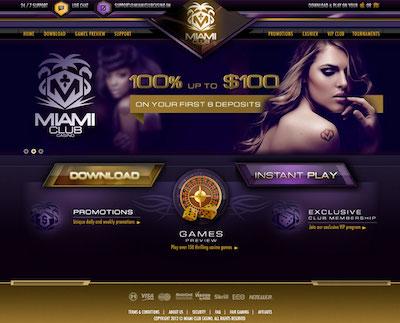 Miami Club Casino homepage