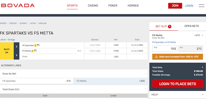 How to Place a Bet at Bovada