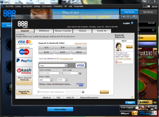 888 Poker cashier and deposit options