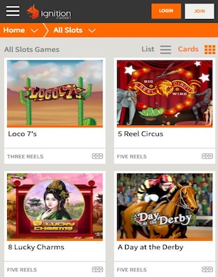 Ignition Casino mobile slots page