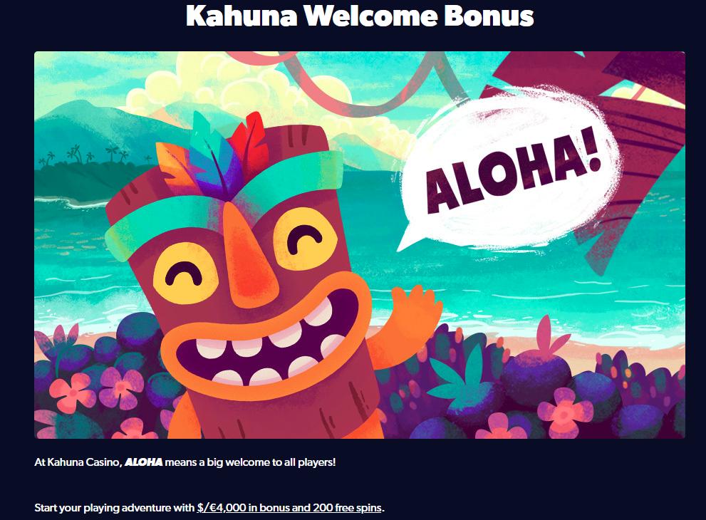 Kahuna Casino Welcome