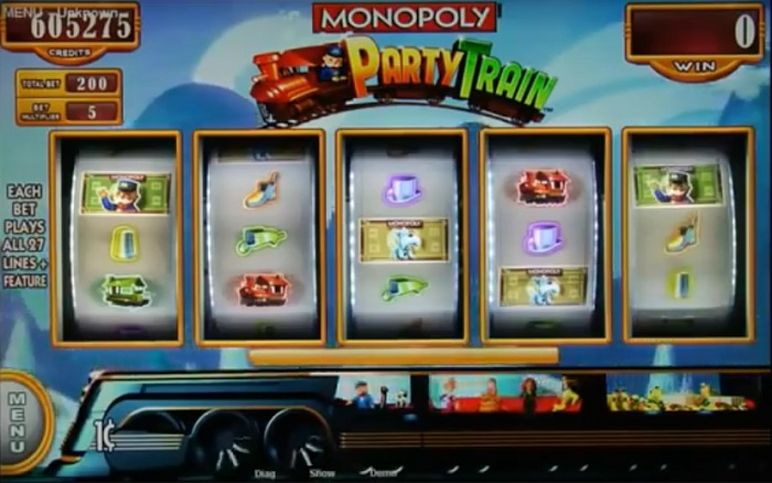 Monopoly Party Train screenshot with five reel slots
