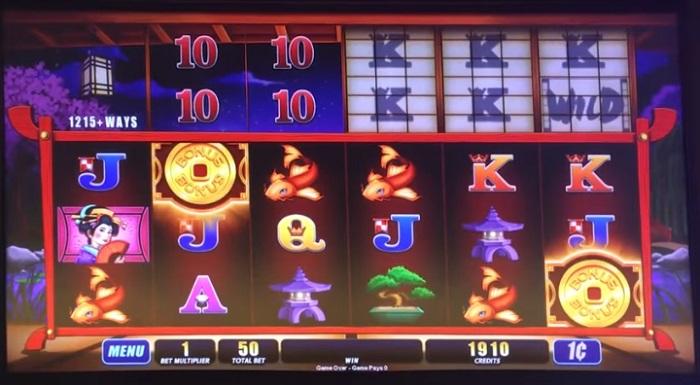Screenshot of Shoji slots with six reels