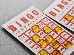 Bingo card during a game of bingo