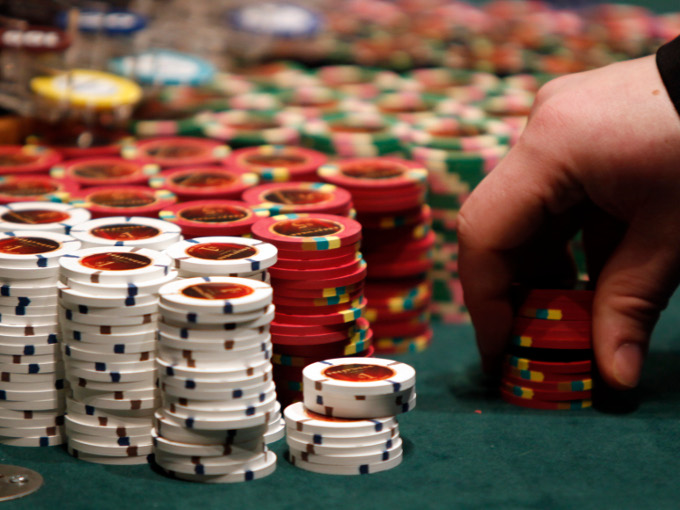 casino chips on a table