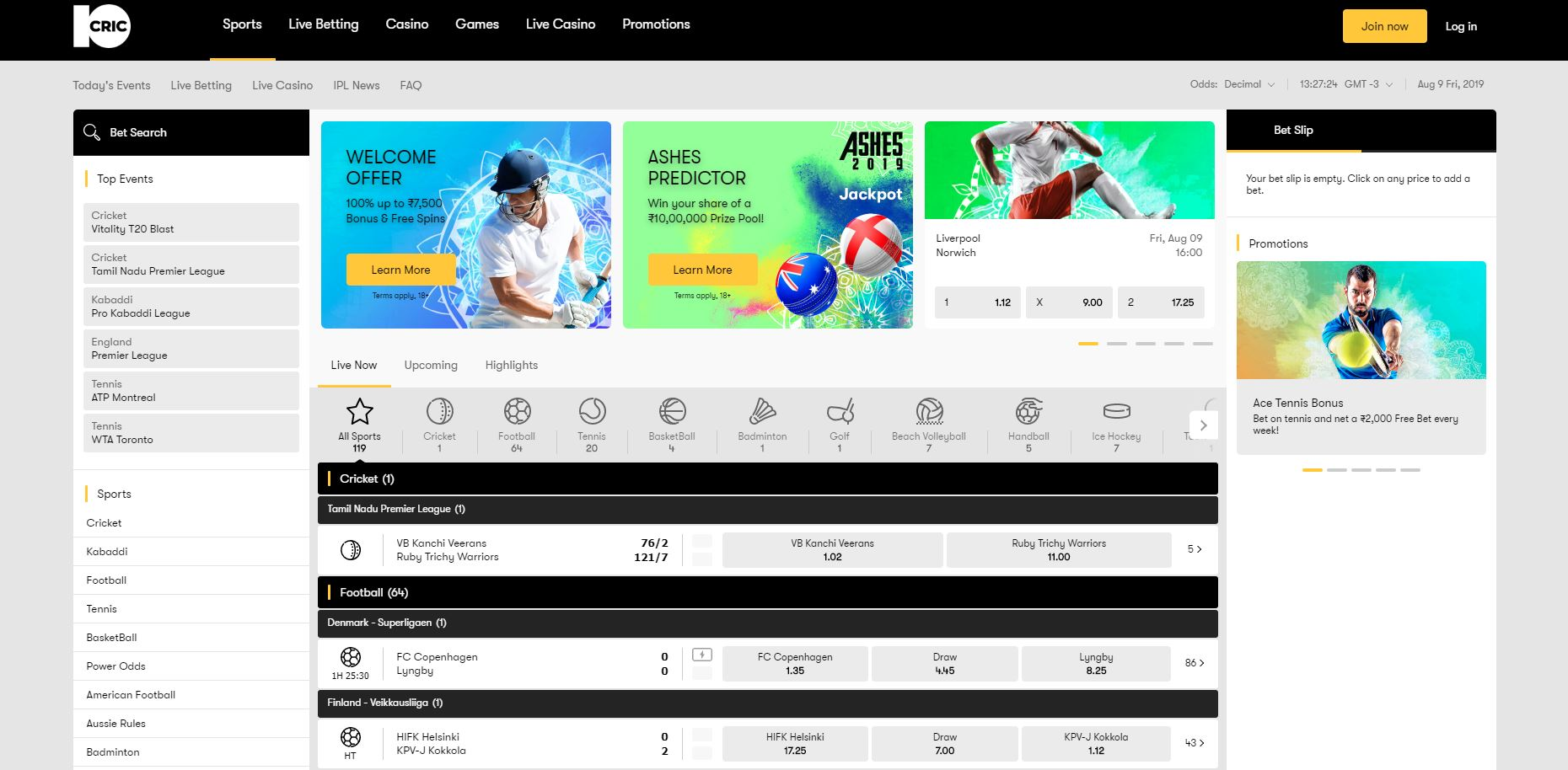 sports betting options at 10Cric