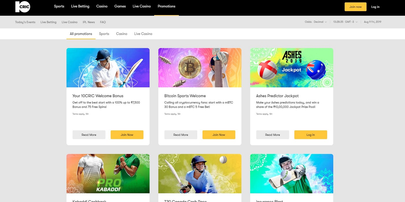 10Cric Sportsbook promotions
