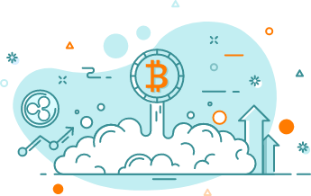 Bitcoin logo illustration with blue and orange