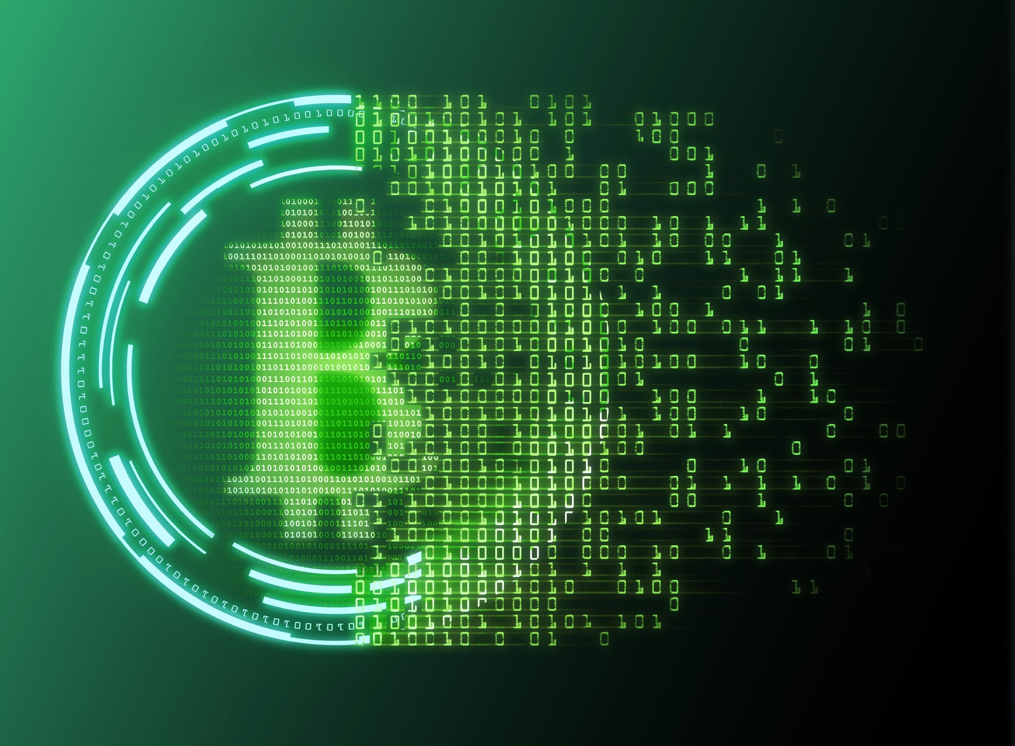 Bitcoin logo dissolving into binary code.