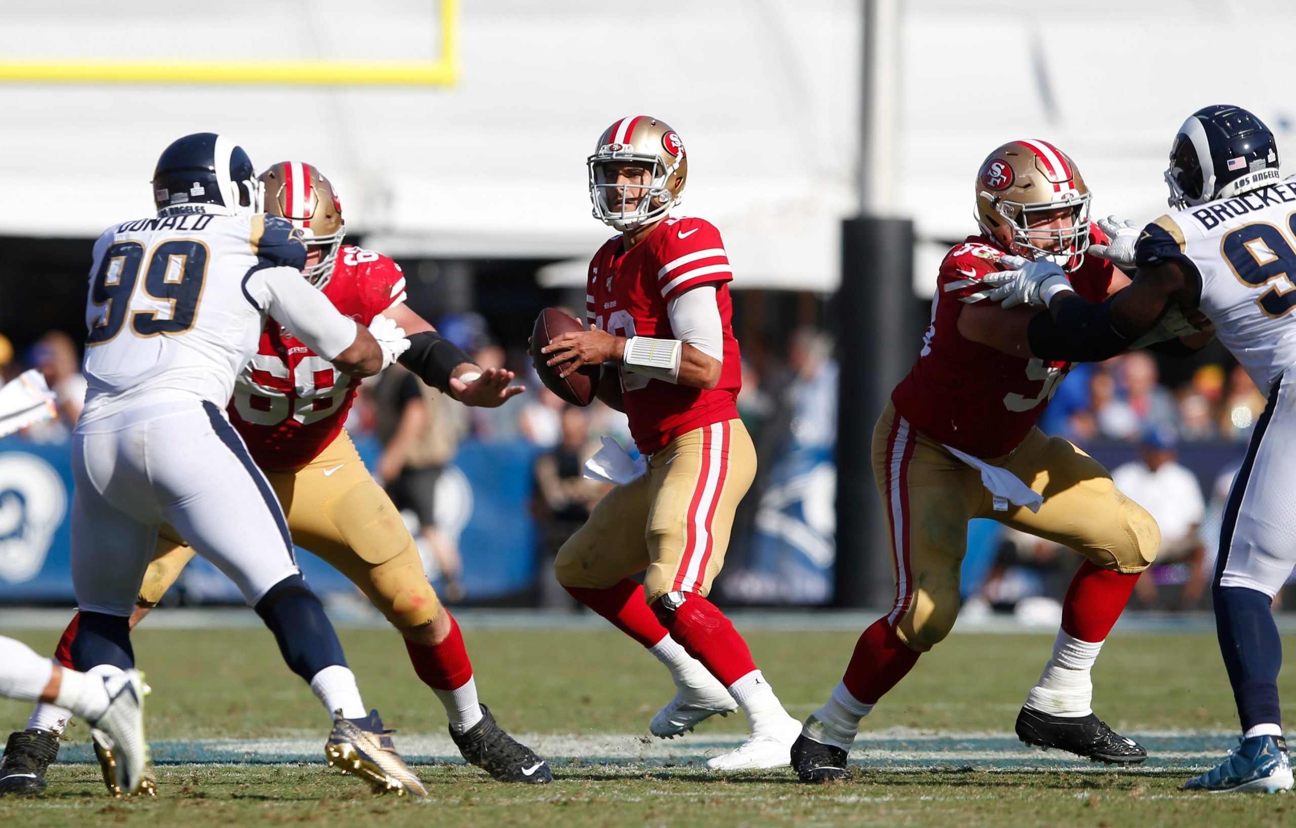San Francisco 49ers Jimmy Garoppolo drops back to pass against the Los Angeles Rams