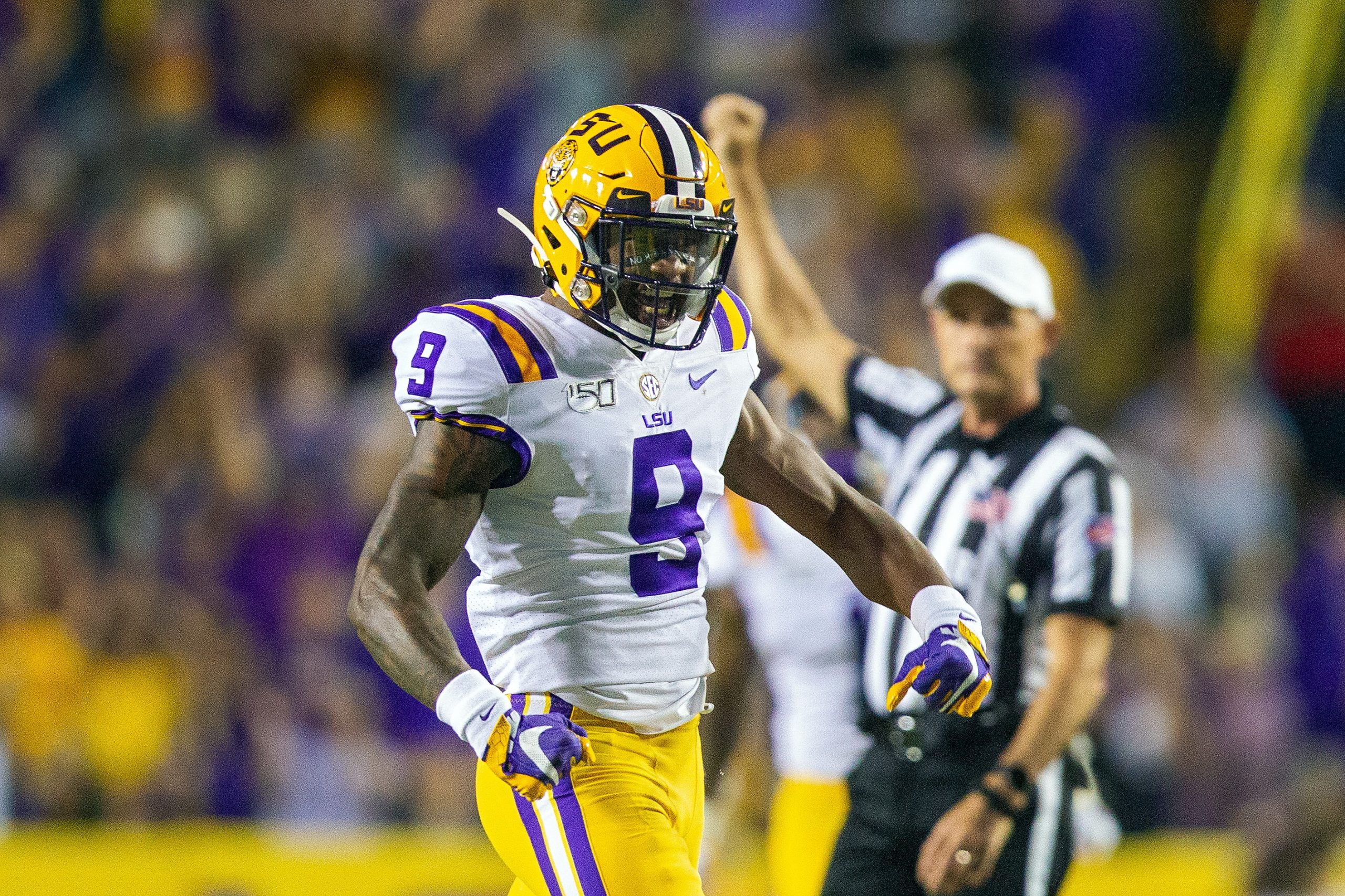 Marcel Brooks of LSU Tigers celebrating during a football game