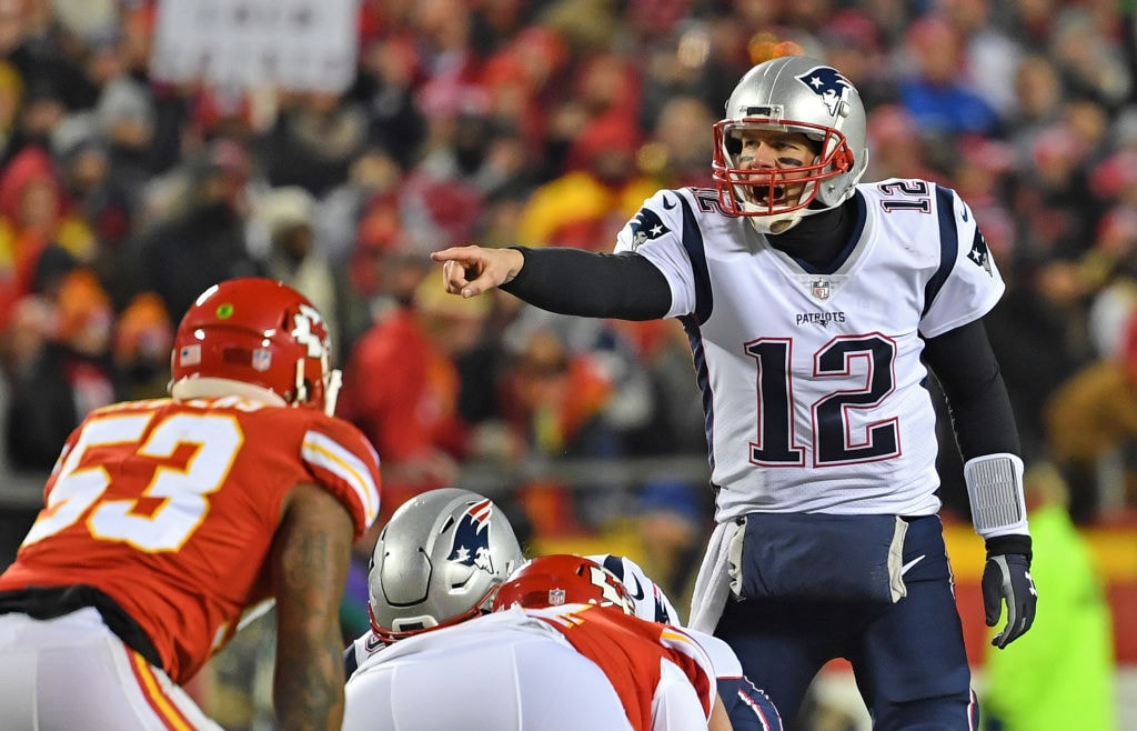 Tom Brady calling a play against the Kansas City Chiefs