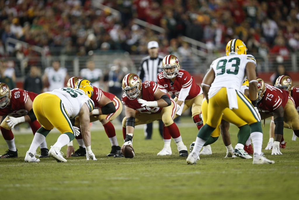 San Francisco 49ers QB Jimmy Garoppolo takes a snap while playing against the Green Bay Packers