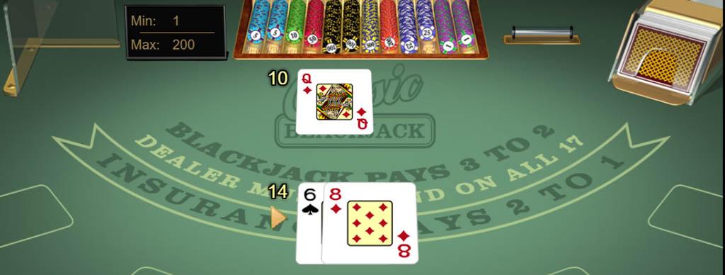 Online blackjack game with cards dealt.