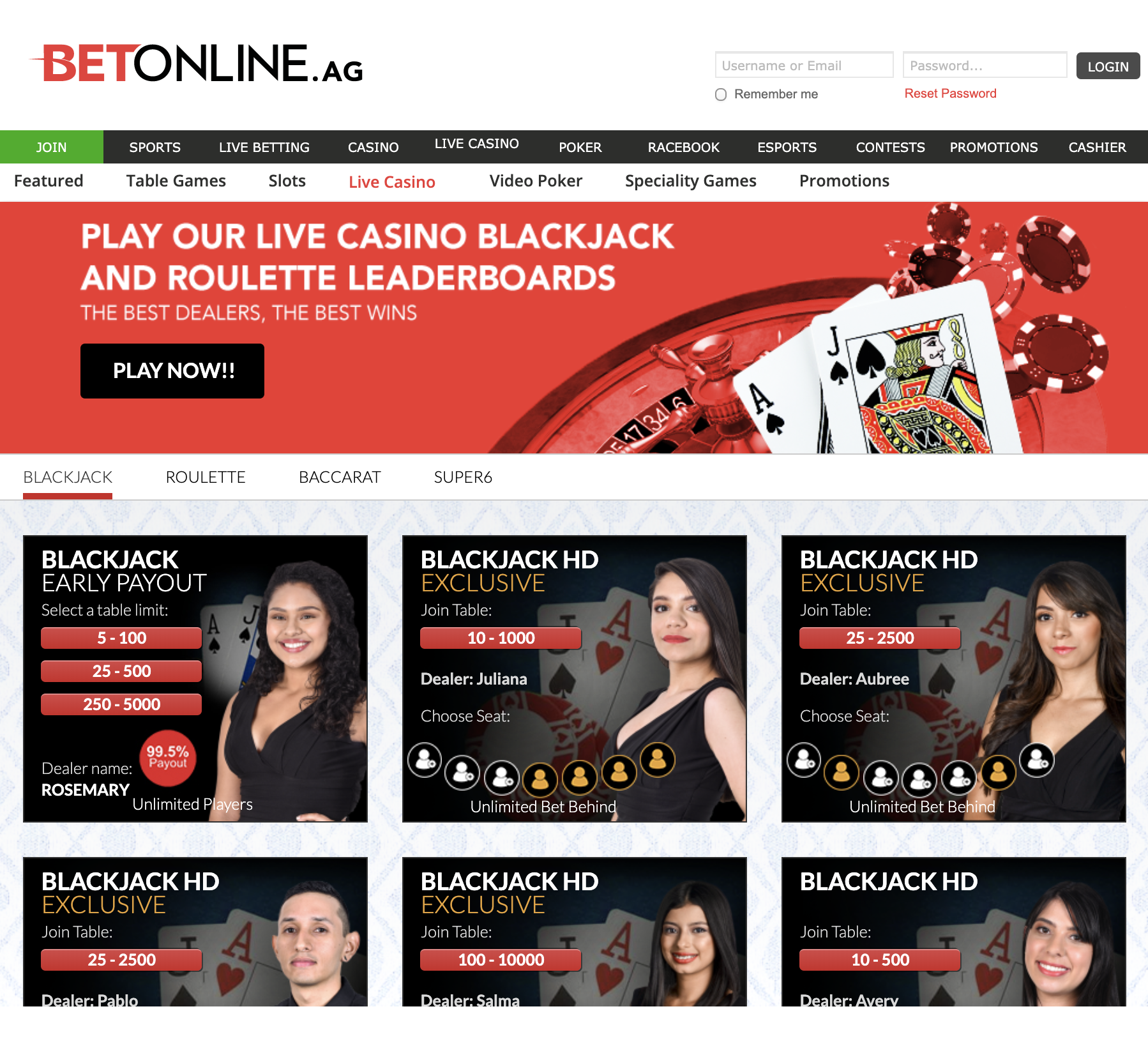 betonline live casino blackjack