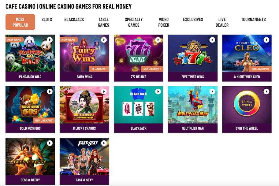 cafe casino online casino games