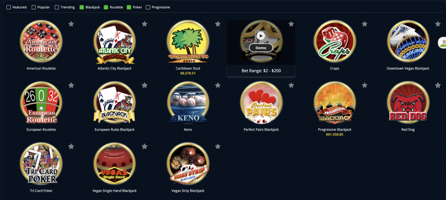 lincoln casino review, game selection