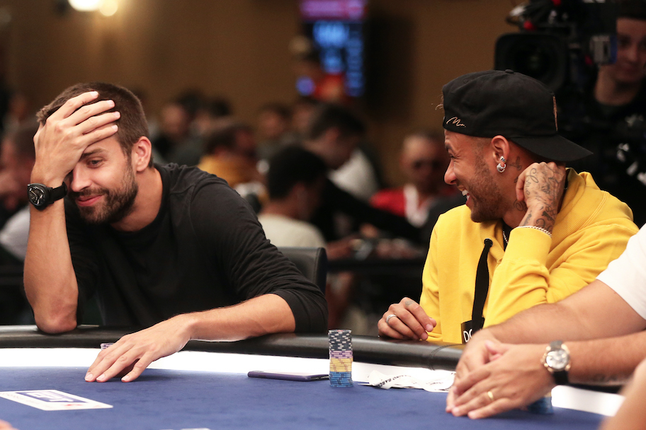 Gerard Pique and Neymar during a 2018 Pokerstars poker tournament