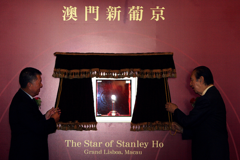 stanley ho and edmund ho at lisboa casino and hotel, macau unveiling star of stanley ho