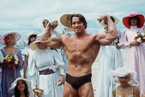 arnold schwarzenegger during 38th cannes festival where pumping iron played