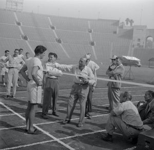 burt lancaster at rose bowl on set of jim thorpe all american movie 1951 black and white photo