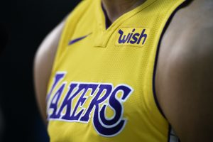 close up of LA lakers jersey on player