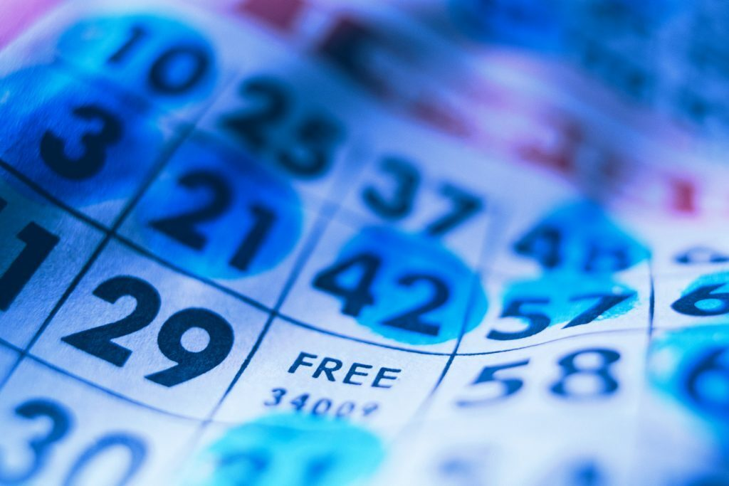 a blue bingo card