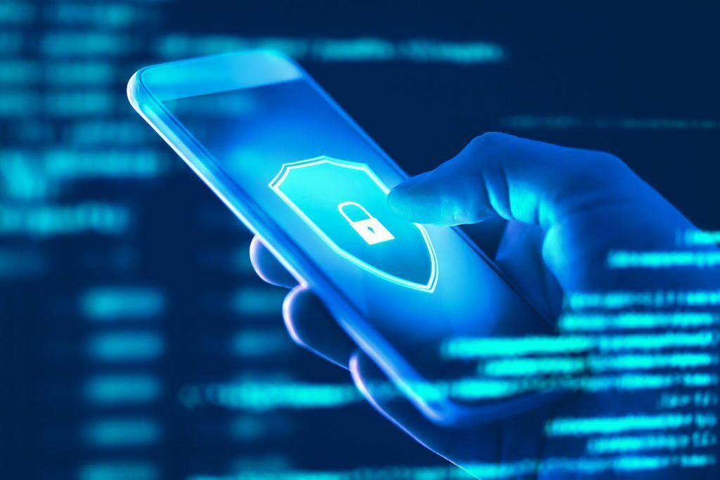 Blue mobile security image