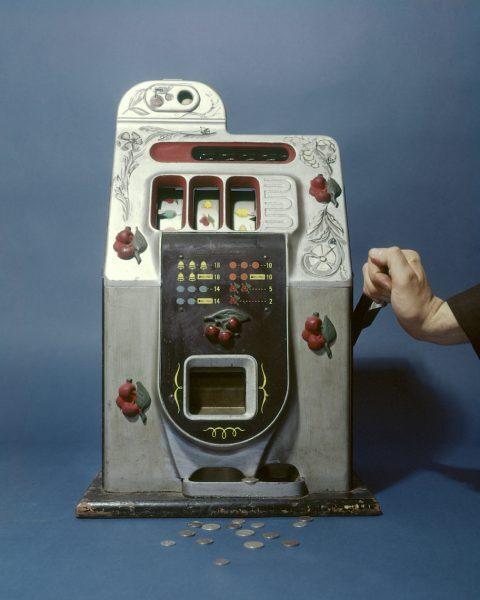 1960s silver one arm bandit slot machine