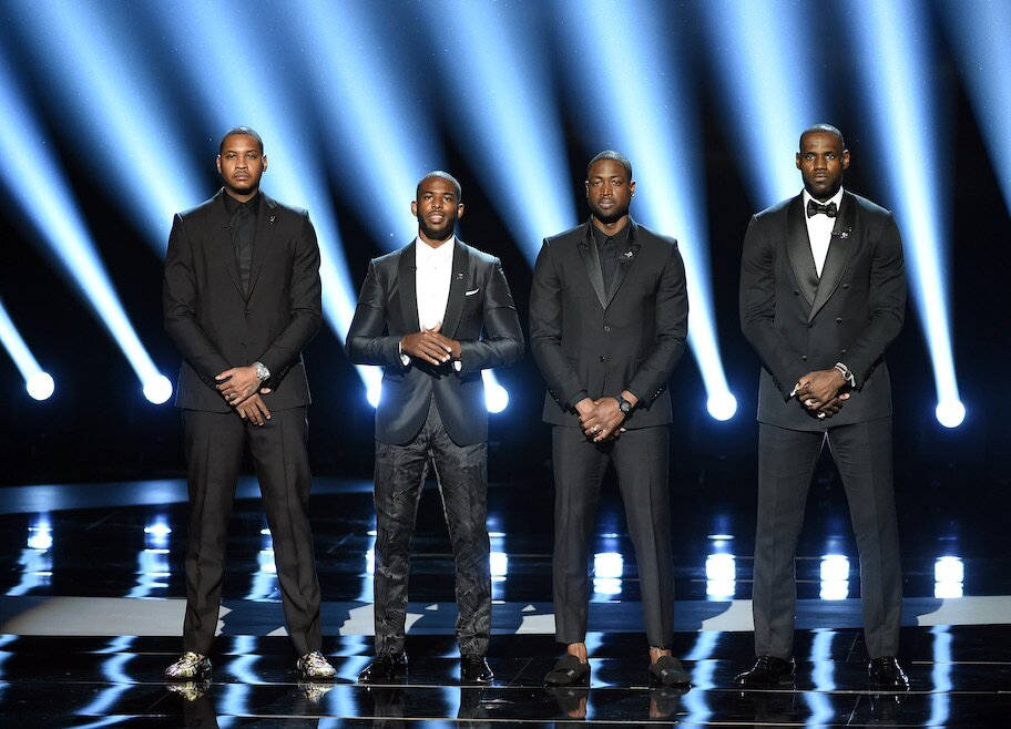 carmelo anthony lebron james chris paul dwyane wade at 2016 espys social justice speech