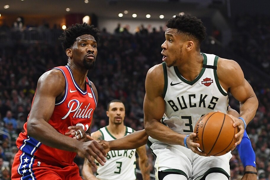 Giannis goes up against Joel Embiid