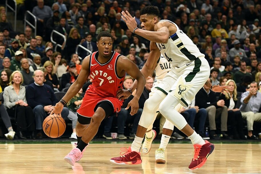 Giannis guards Kyle Lowry