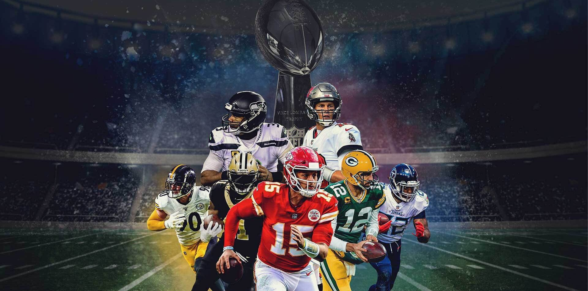 Super Bowl themed image with 7 NFL players
