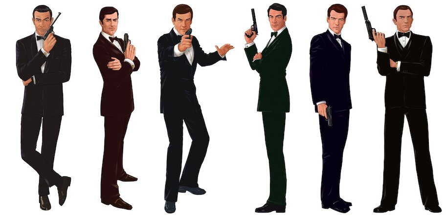james bond with gun in multiple poses