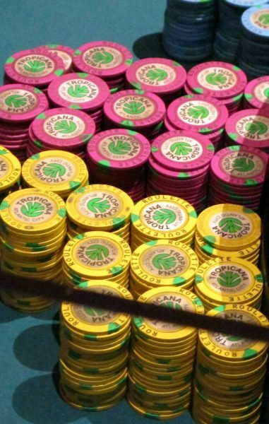 piles of poker chips at tropicana casino atlantic city