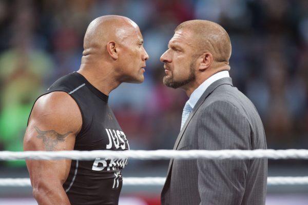triple h and dwayne the rock johnson WrestleMania 31