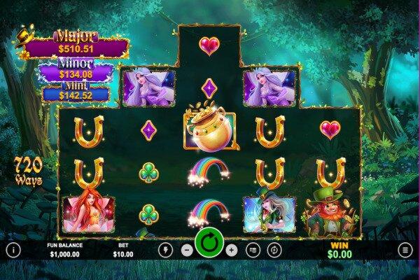 tangkapan layar dari permainan slot Paddy's Lucky Forest yang menunjukkan susunan gulungan 3x4x5x4x3 yang unik