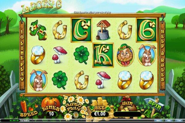 tangkapan layar dari permainan slot Lucky 6 menunjukkan enam gulungan dengan simbol bertema Irlandia di depan perbukitan hijau