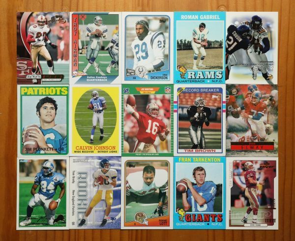 flatlay of sports trading cards