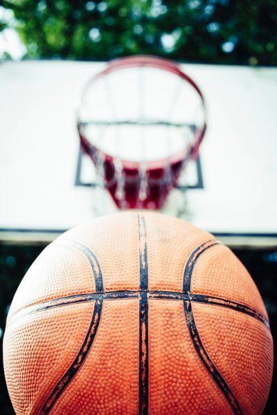 basketball underneath basketball net