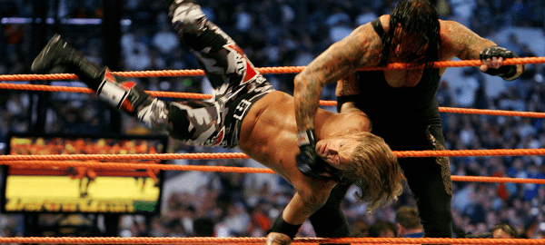 undertaker throws edge out of ring wrestlemania XXIV