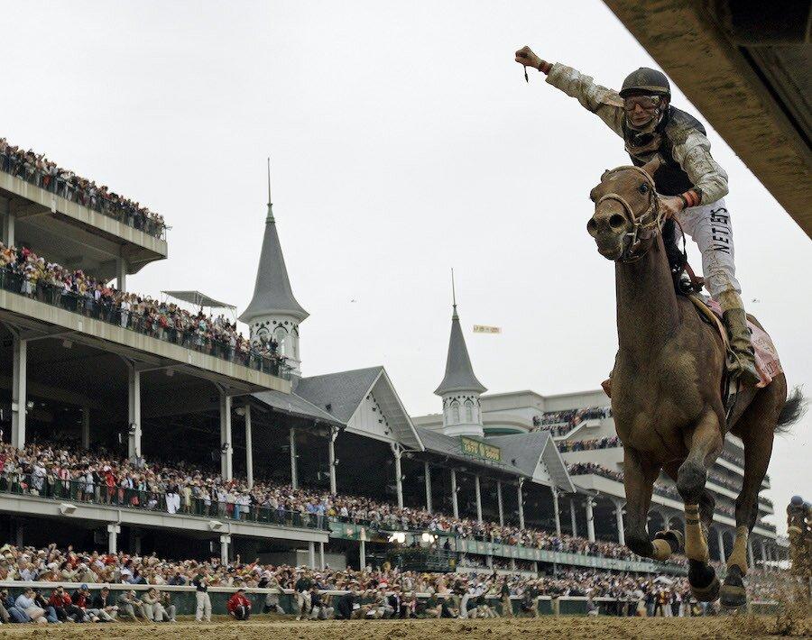 calvin borel rides mine that bird across finish line at 135th kentucky derby 2009