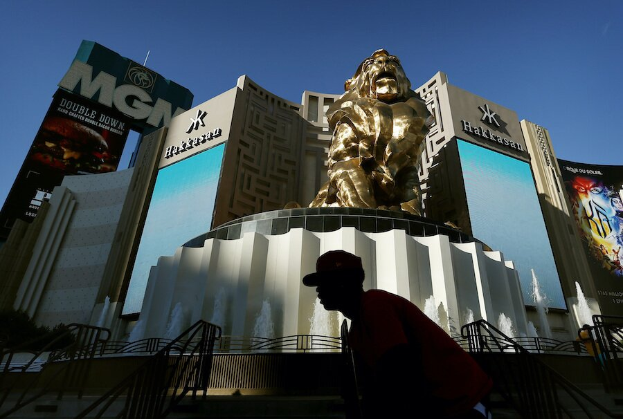 MGM Grand hotel and casino in Las Vegas with signage and golden lion