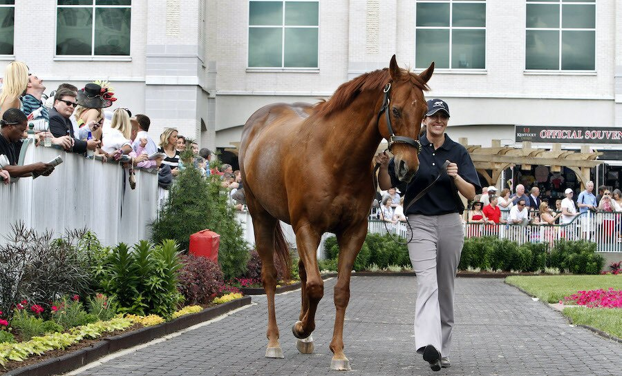 Dixie Hayes leads 2003 Kentucky Derby winner Funny Cide around the paddock at Churchill Downs