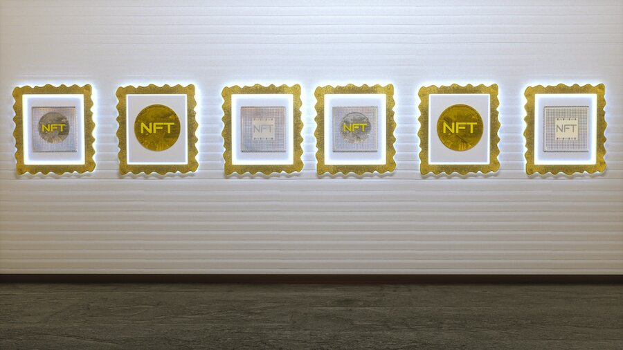 picture gallery with nft image on the wall