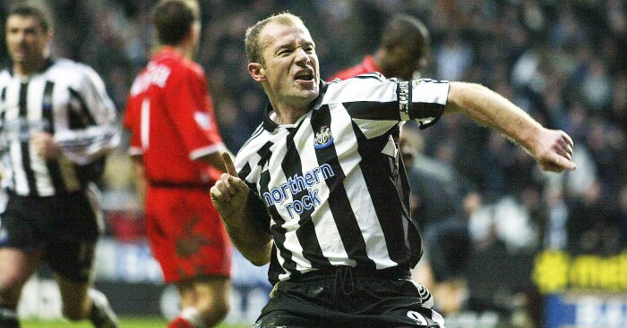 Alan Shearer after scoring a goal