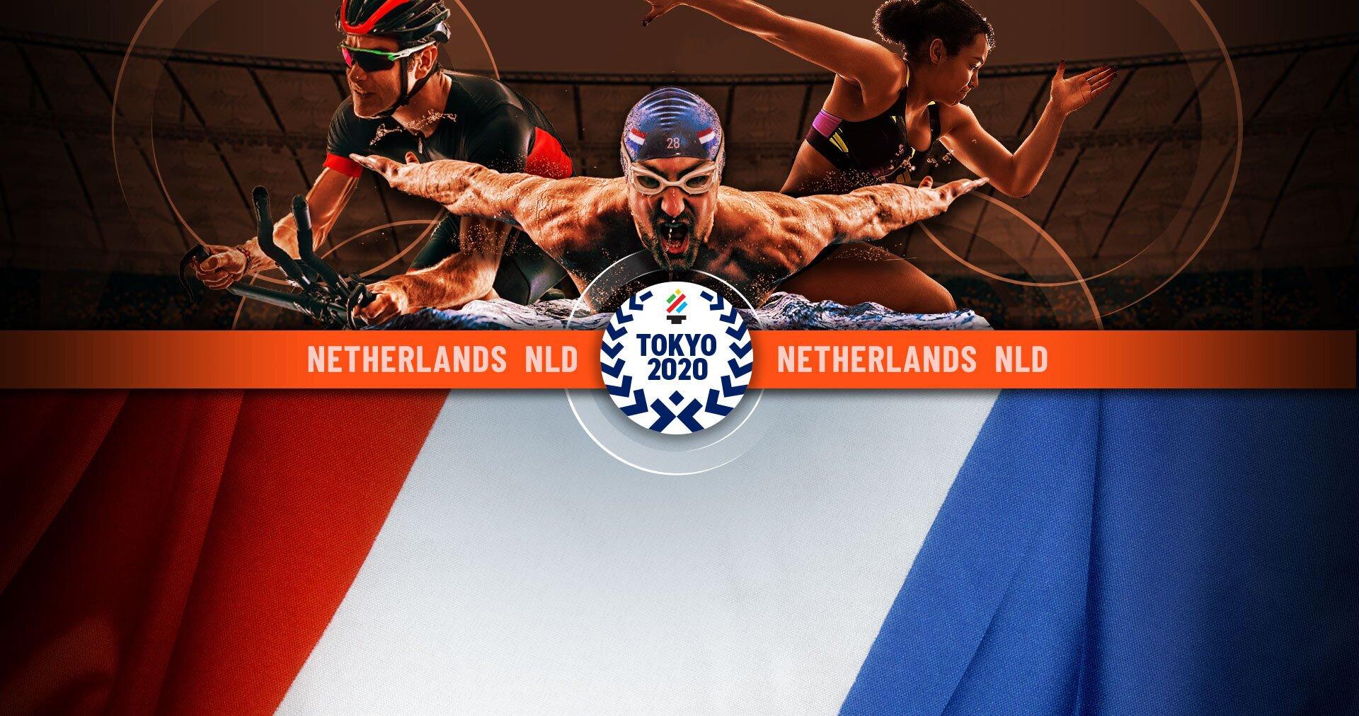 Atleten met Nederlandse vlag op de Olympische spelen