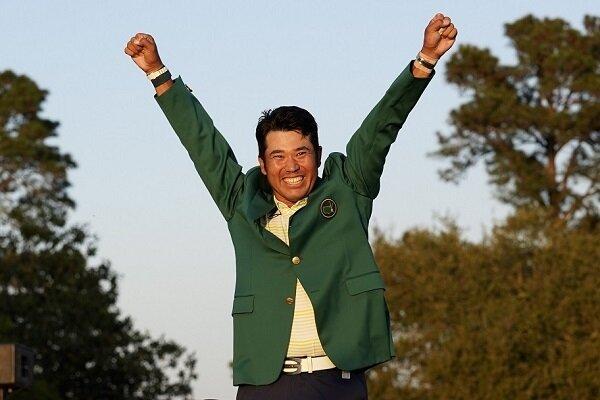 Hideki Matsuyama celebrates his Masters win