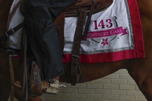 A sash showing the Kentucky Oaks logo