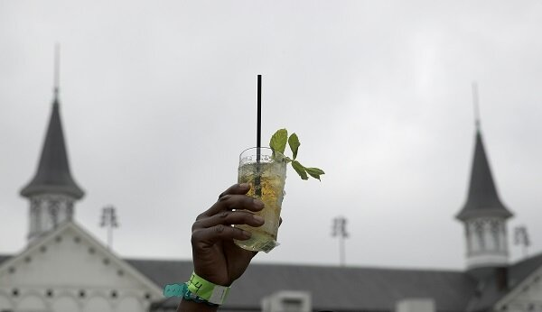 Someone holding up a mint julep
